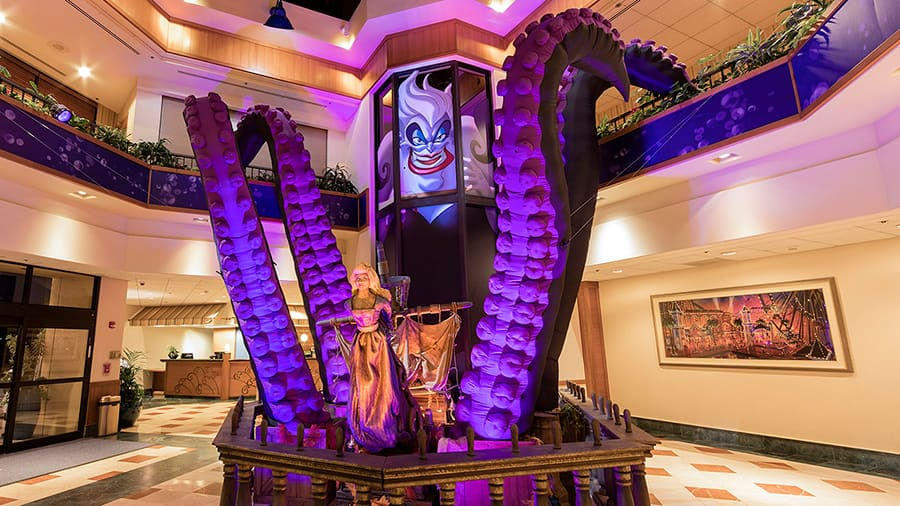 "Ursula is welcoming ""poor unfortunate souls"" to Disney's Paradise Pier Hotel"
