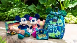 Items from the New Aulani Resort Collection: Loungefly backpack and wallet, exclusive plush and other accessories