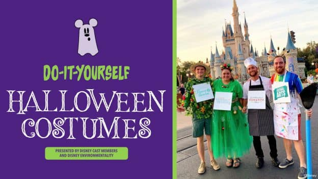 Do-it-Yourself Halloween Costumes Presented by Disney Cast Members and Disney Environmentality, featuring a group wearing costumes representing Epcot International Flower & Garden Festival, Epcot Festival of the Holidays, Epcot International Food & Wine Festival and Epcot International Festival of the Arts