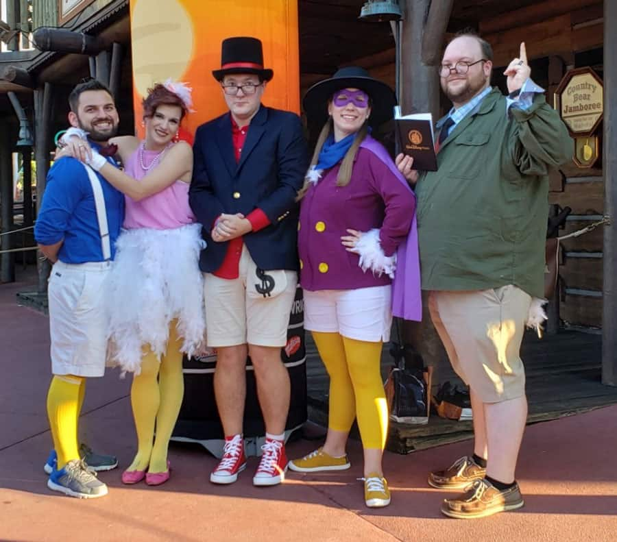 Donald Duck, Daisy Duck, Scrooge McDuck, Darkwing Duck and Ludwig Von Drake group costume