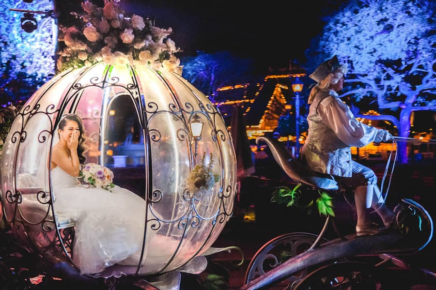 Bride in Cinderella Coach for a Disney Fairytale Wedding