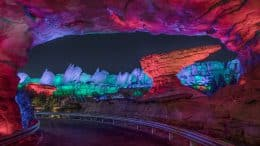 Cadillac Range mountains in Cars Land at Disney California Adventure park lit up during the Halloween season