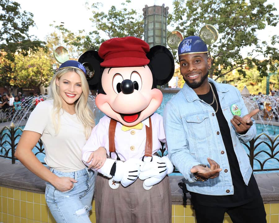 """Dancing with the Stars"" Professional dancer, Witney Carson, and her partner, Comedian Kel Mitchell, posed with Mickey Mouse."