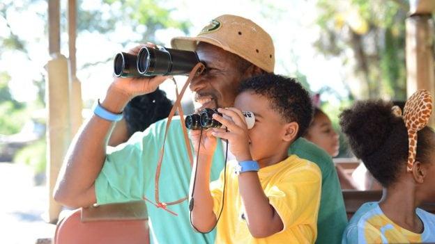 Guests look through binoculars while riding Kilimanjaro Safaris at Disney's Animal Kingdom park
