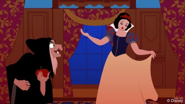 The Wicked Queen looks for Snow White in the Princess Fairytale Hall