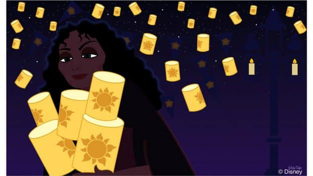 Mother Gothel from Tangled takes down the lanterns in Magic Kingdom park - Disney Doodle