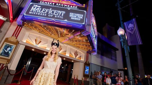 Actress Elle Fanning at the at the Sunset Showcase Theater in Disney California Adventure park
