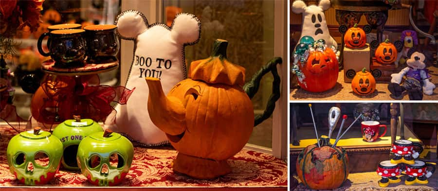 Windows of the Emporium with seasonal merchandise and home goods and more specialty pumpkins