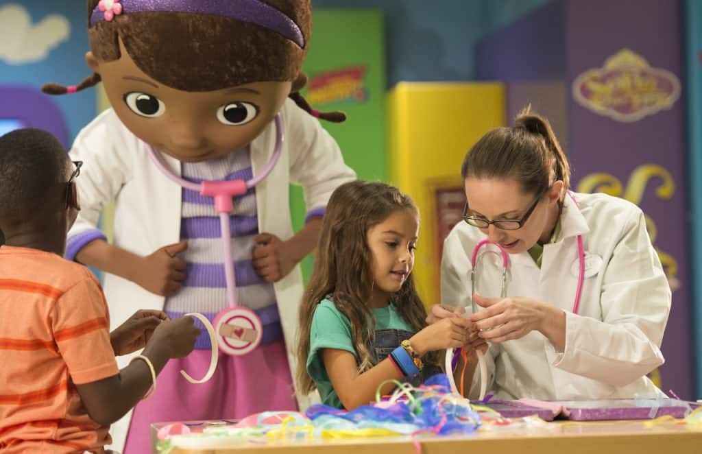 Doc McStuffins with guests on Disney Cruise Line