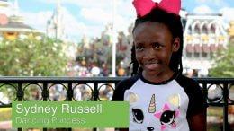 8-year-old Sydney Russell, Dancing Princess Tiana fan at Magic Kingdom Park