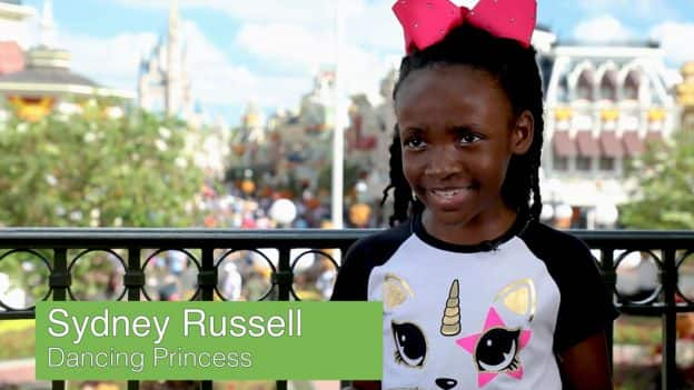 8-year-old Sydney Russell, Dancing Princess Tiana fan at Magic Kingdom Park