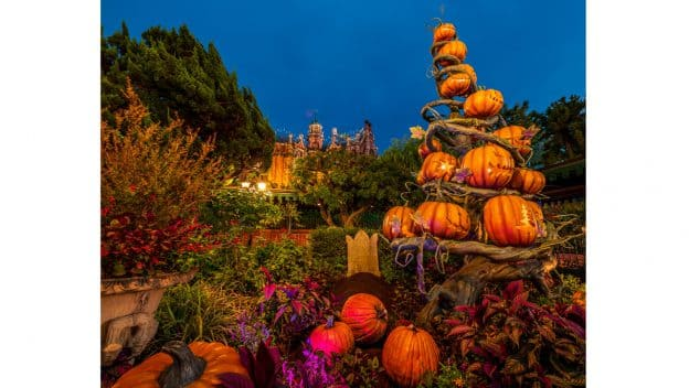 Pumpkins pile up at The Haunted Mansion at Tokyo Disneyland