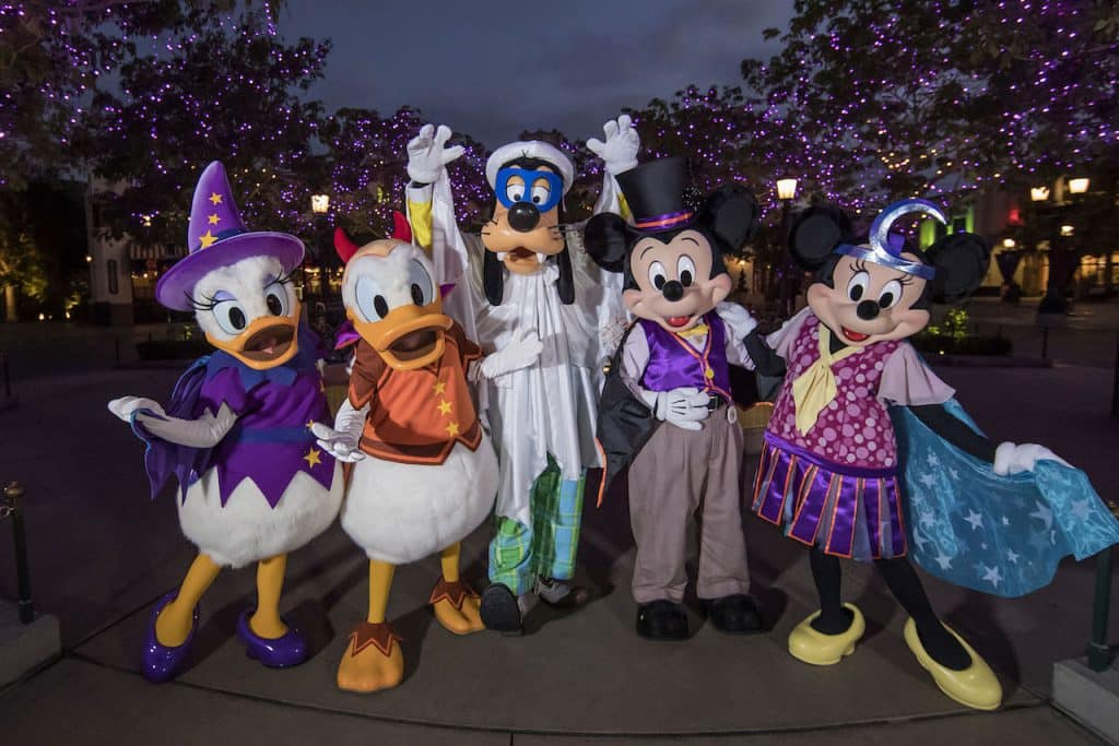 Disney characters during Halloween Time at the Disneyland Resort