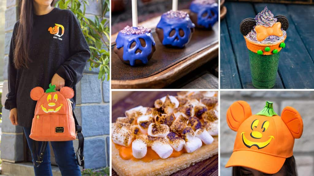 Collage of merchandise and treats from the Disneyland Resort during Halloween Time