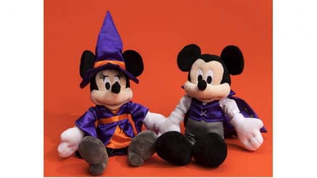 Halloween Mickey and Minnie plushes