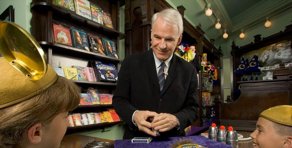 hollywood Disney Legend Steve Martin returns to his roots at the Main Street Magic Shop in Disneyland. © Disney