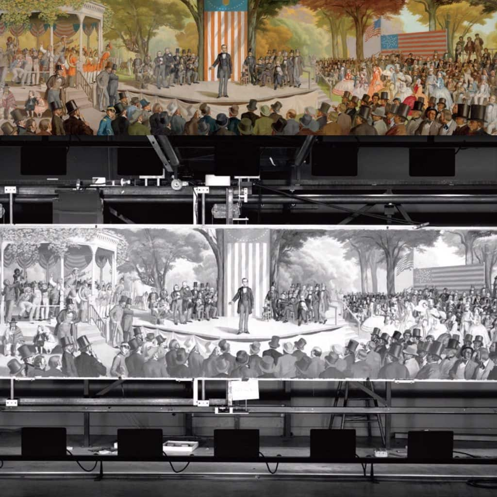 The original panoramic painting of President Washington addressing his cabinet officers. The painting is mounted on a mechanism that allows it to be moved horizontally and vertically during the shot. © Disney
