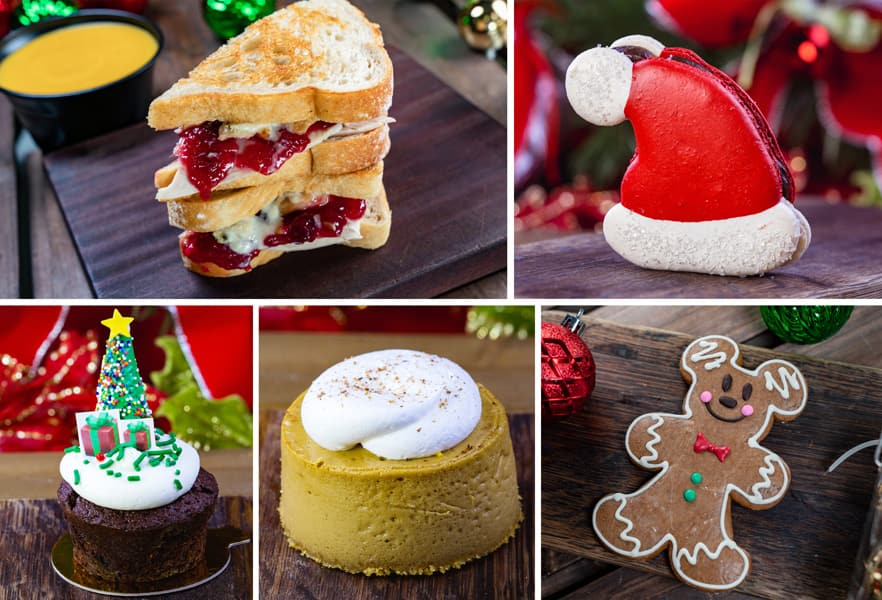 Collage of Jolly Holiday Bakery Café Offerings for Holidays 2019 at Disneyland Park