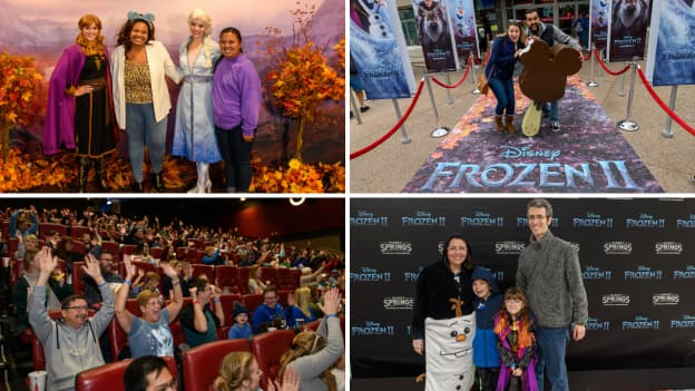 "Collage of images from the Disney Parks Blog ""Frozen 2"" Meet-up at Disney Springs"
