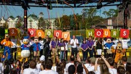 "The Walt Disney Company and Points of Light honored the ""Volunteer Family of the Year"" at Disney Springs at Walt Disney World Resort, Nov. 23, 2019, in Lake Buena Vista, Fla. During an inspiring ceremony, thousands of guests and Disney Cast Members celebrated the Aguirre family of McAllen, Texas (purple shirts), along with Disney Parks, Experiences and Products Chairman Bob Chapek (center), Walt Disney World Resort President Josh D'Amaro (right of Mickey Mouse), Points of Light CEO Natalye Paquin (left of Minnie Mouse), and Disney characters."