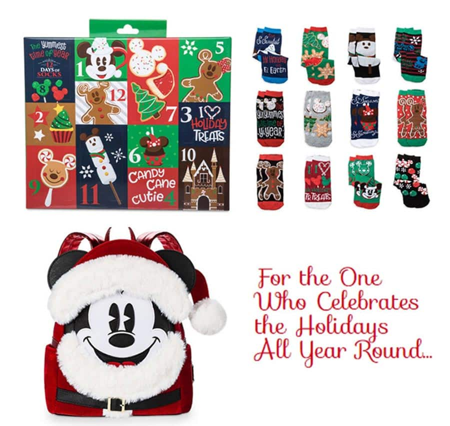 Santa Mickey Mouse Mini Backpack by Loungefly, holiday advent calendar + socks