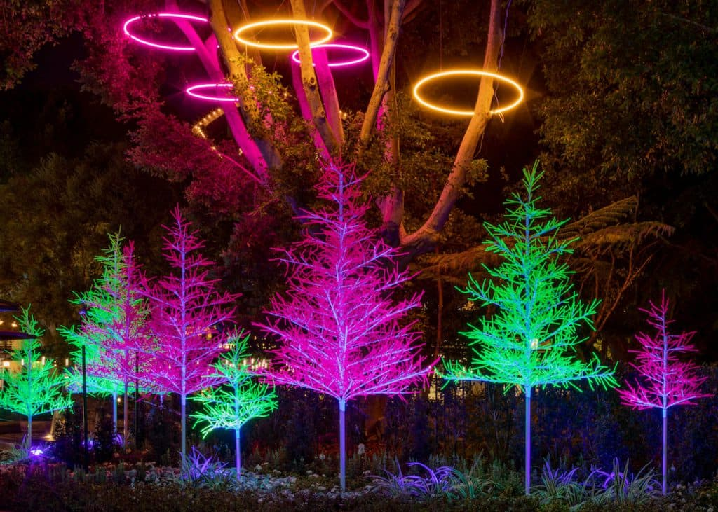 First Look: New 'Let It Glow' Trees are Merry and Neon Bright in Downtown Disney District at Disneyland Resort