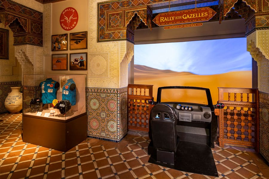 "Rallye Aïcha des Gazelles du Maroc (Rally of the Gazelles), part of the  ""Race Against the Sun: Ancient Technique to Modern Competition"" exhibit in the Morocco pavilion at Epcot"