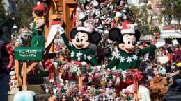 Mickey Mouse and Minnie Mouse in 'A Christmas Fantasy' parade at Disneyland park