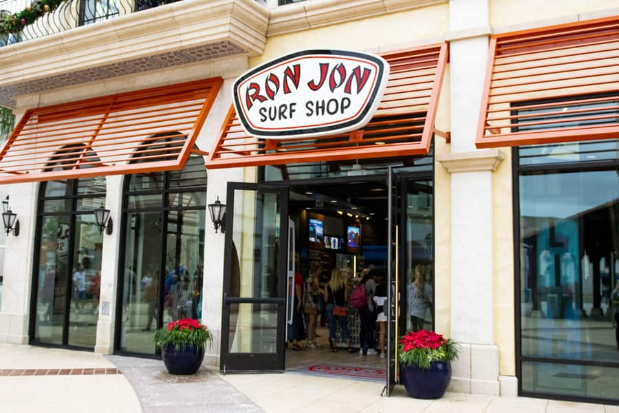 Ron Jon Surf Shop entrance at Disney Springs
