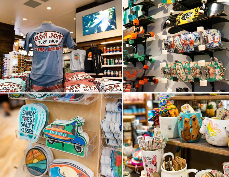 Collage of apparel, skateboards, stickers and home goods at Ron Jon Surf Shop at Disney Springs