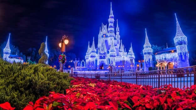 Holiday lights on Cinderella Castle