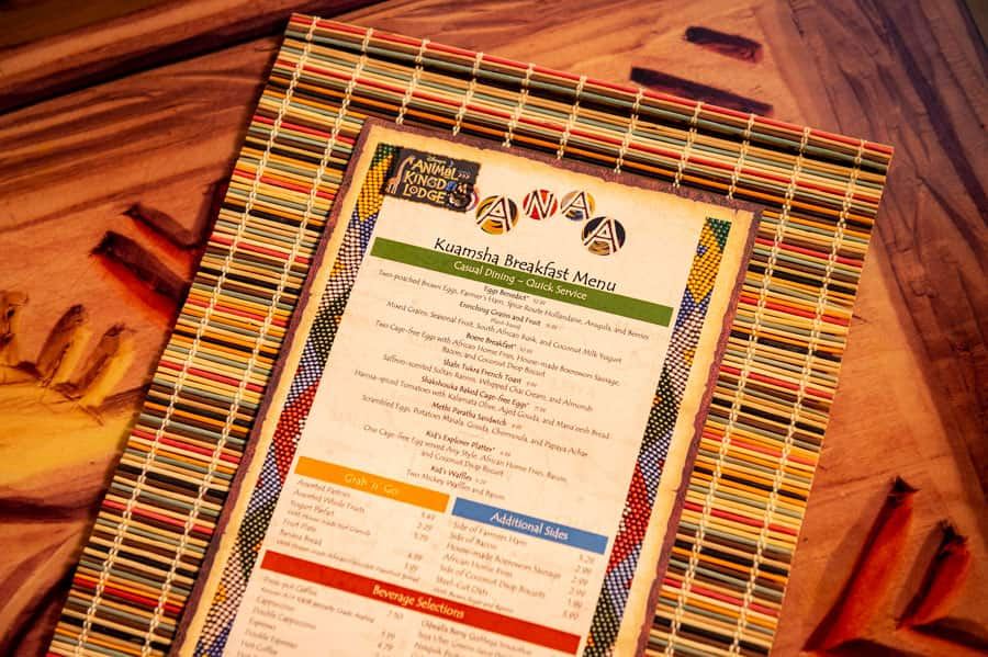 Sanaa Kuamsha Breakfast Menu at Disney's Animal Kingdom Lodge