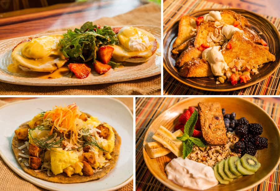 Collage of Sanaa Kuamsha Breakfast Entrees at Disney's Animal Kingdom Lodge