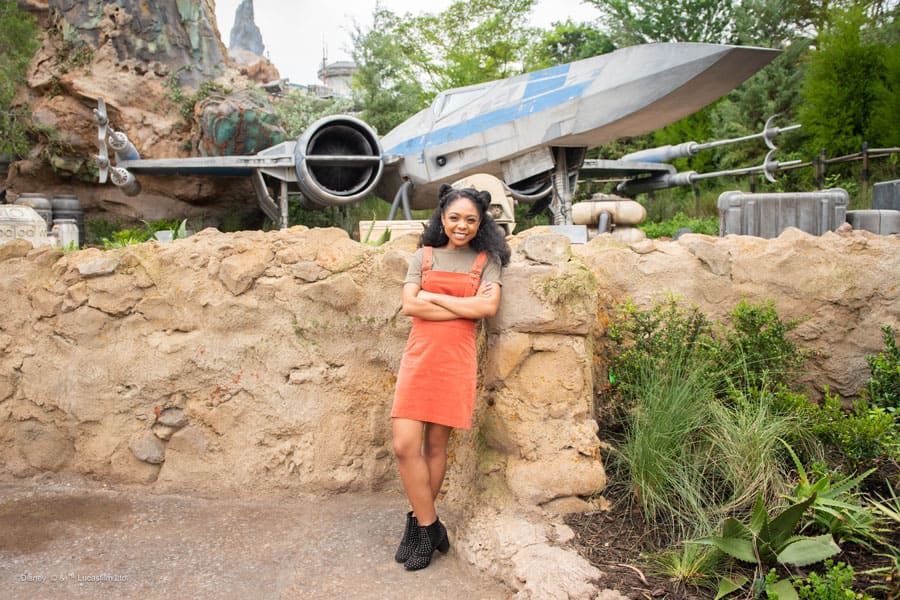 Photo location in front of the X-wing Starfighter in Star Wars: Galaxy's Edge