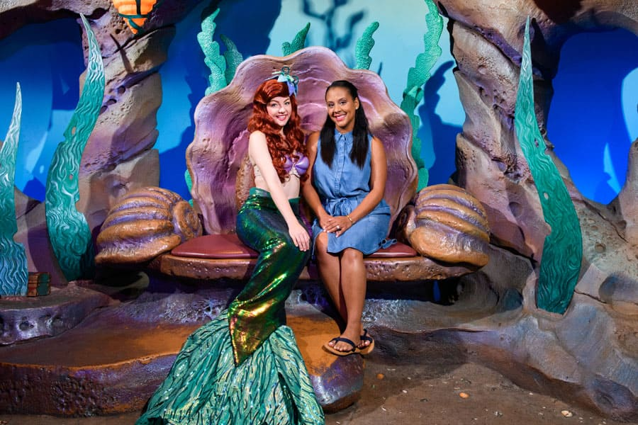 Meeting Ariel at her grotto in Fantasyland at Magic Kingdom Park