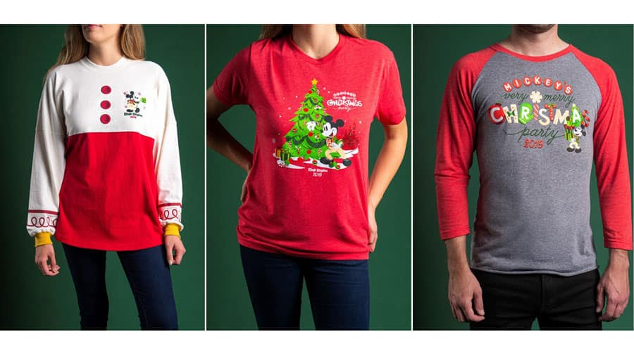 Spirit jerseys and T-shirts adorned with Holiday icons available at Mickey's Very Mery Christmas Party