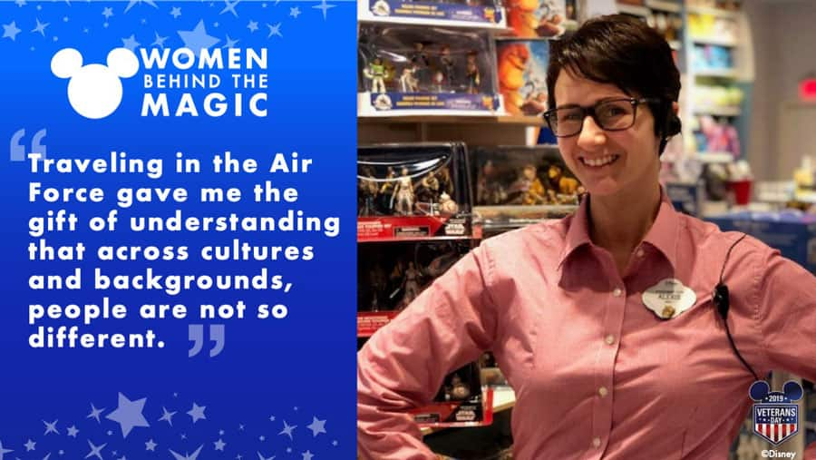 """Women Behind the Magic: """"Traveling in the Air Force gave me the gift of understanding that across cultures and backgrounds, people are not so different."""" - Alexis Lohmann"""