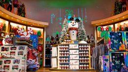 Holiday merchandise display at World of Disney at Disney Springs