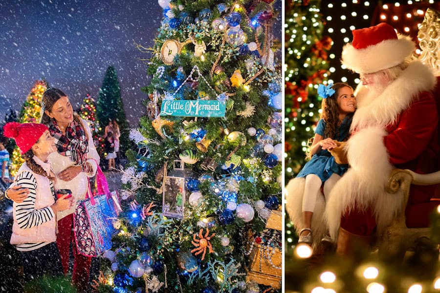 Disney Springs Christmas Tree Trail and meeting Santa Claus at Disney Springs