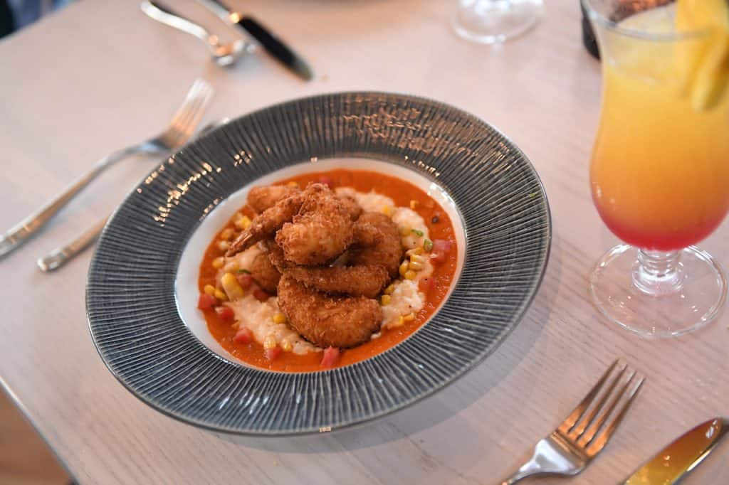 Coconut Shrimp and Grits from Sebastian's Bistro at Disney's Caribbean Beach Resort