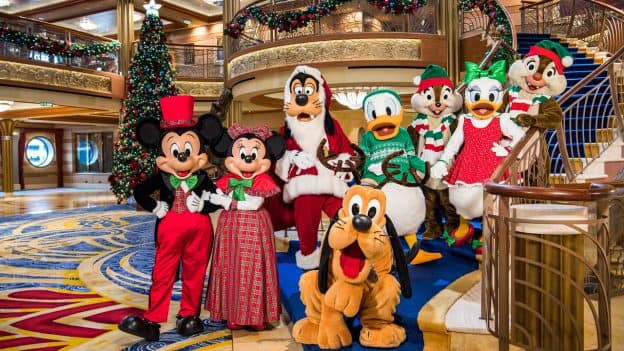 Mickey, Minnie, Goofie, Pluto, Donald, Daisy, Chip and Dale in holiday attire for Disney Cruise Line Very Merrytime cruises