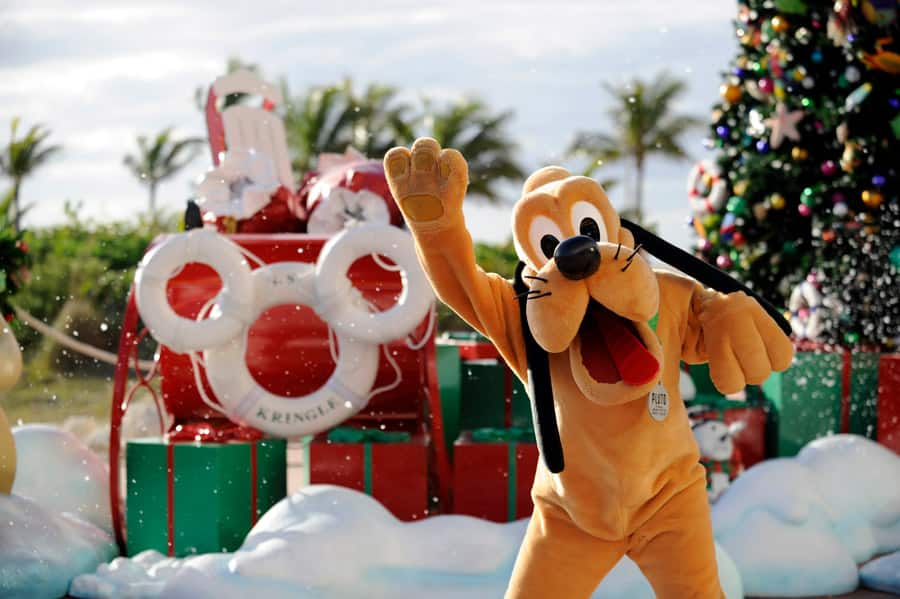 Pluto poses in front of holiday decor on Castaway Cay