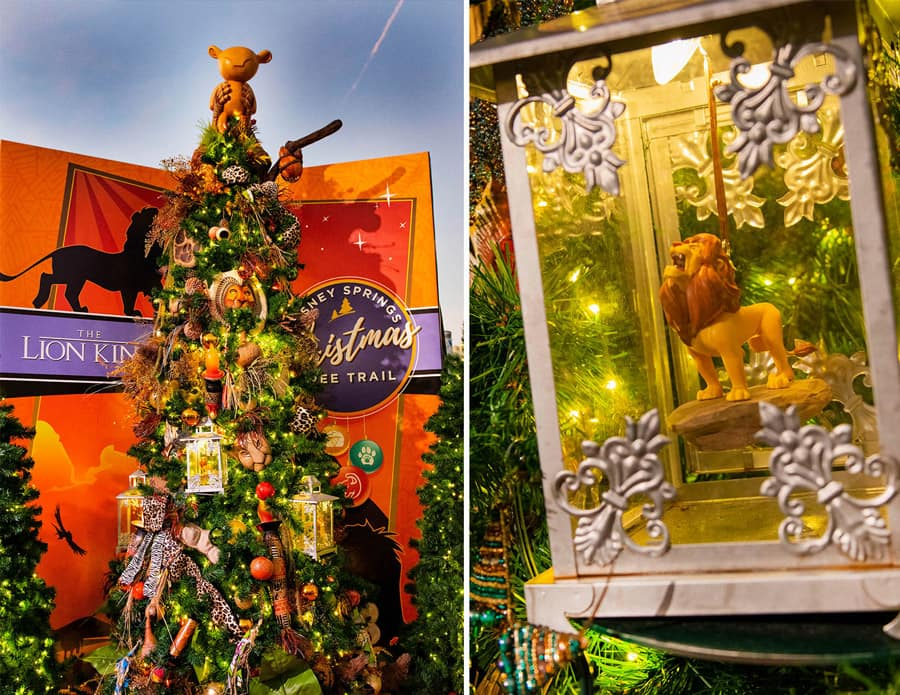 "Disney Springs Christmas Tree Trail ""The Lion King""-inspired tree and close-up of ""The Lion King"" ornament"