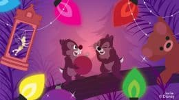 Chip & Dale visit the Christmas Tree Trail at Disney Springs