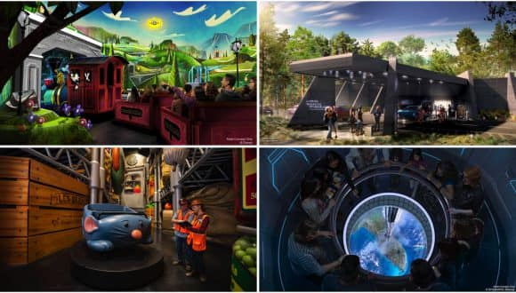 Collage of renderings of new experiences coming to Walt Disney World Resort