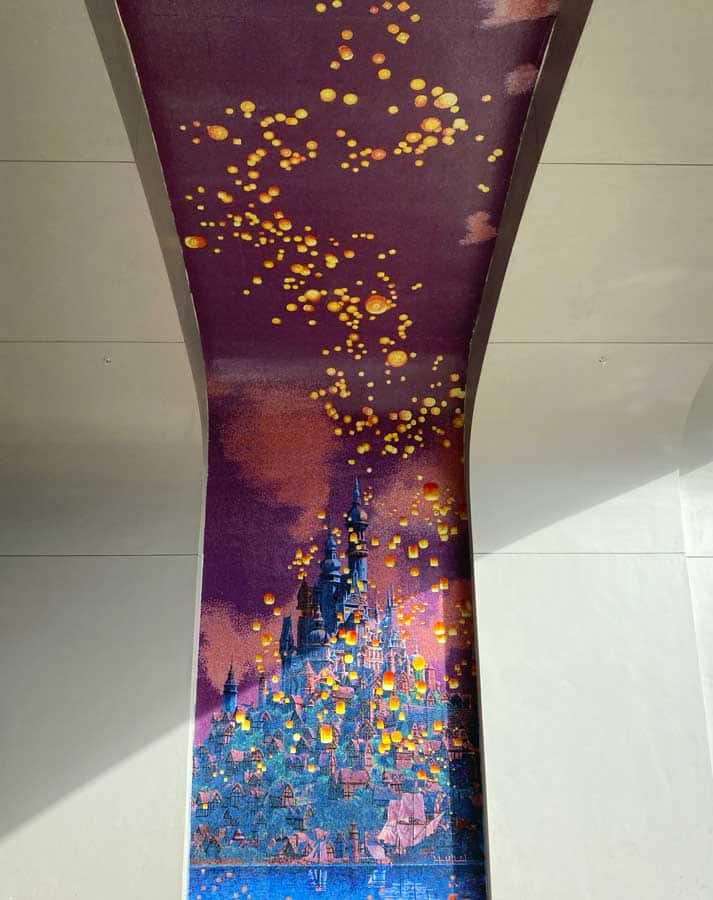 "Mosaic at Disney's Riviera Resort depicting Rapunzel's floating lantern scene from ""Tangled"""
