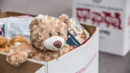 Toys for Tots donation box with Teddy Bear
