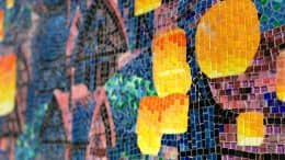 "Close-up of mosaic at Disney's Riviera Resort depicting Rapunzel's floating lantern scene from ""Tangled"""