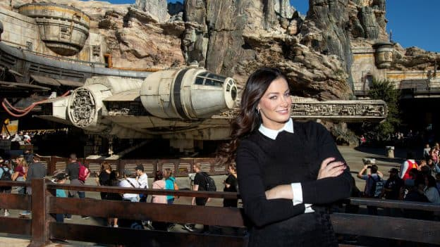 Dayanara Torres posing in front of the Millennium Falcon at Disneyland park