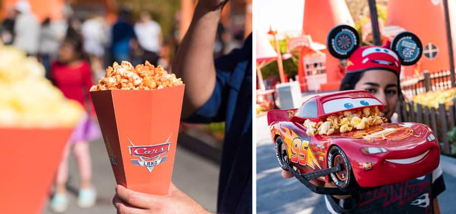 Collage of Popcorn from Cozy Cone Motel at and Lightning McQueen popcorn bucket Disney California Adventure park